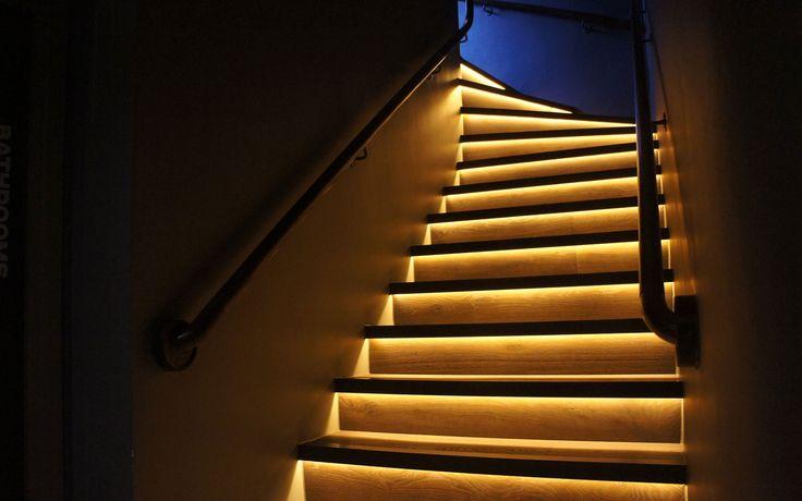 Lighting Basement Washroom Stairs: Strip Light Stairs