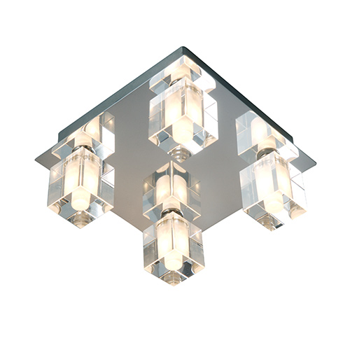 robus square ip44 crystal bathroom ceiling light chrome